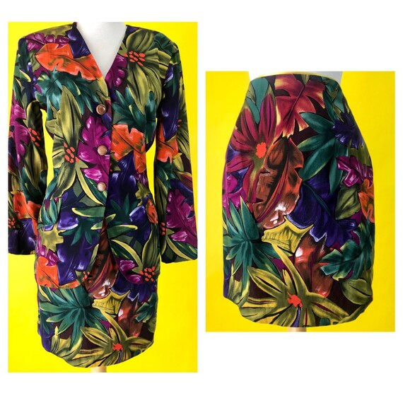 1990s Tropical Skirt Suit Diana Hartman