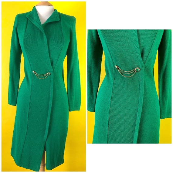Green Knit and Vintage 90s Fashion Dress 1990s Wra