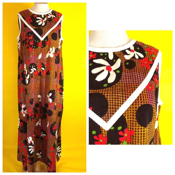 Polyester 60s Mod Style Hipster Maxi
