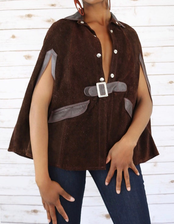 Suede and Leather Brown Vintage Cape 70s Cape Vint