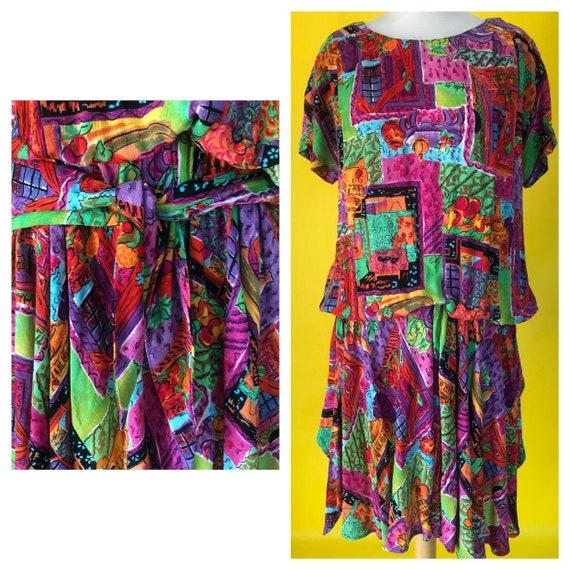 1980s Vintage Dress Drop Waist Sash Flapper Carole