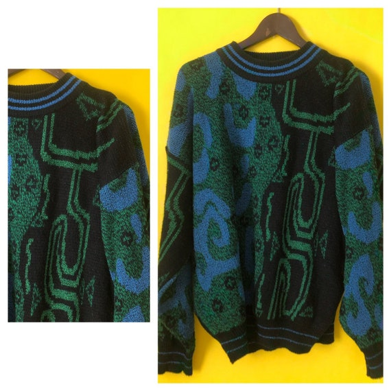 Vintage Oversized Mens 80s Sweater Leather Slouch