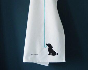 Dog tea towel on hook