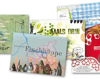 10 Hamburg Postcards Sewn in Bag + Stamp: MADE IN HAMBURG