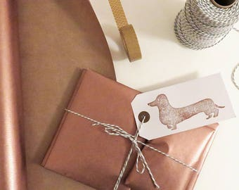 Gift wrapping - ADD ON - copper & grey - dachshund / sausage dog stamp tag