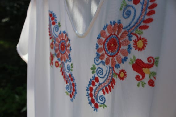 Vintage Hungarian hand embroidered women's blouse