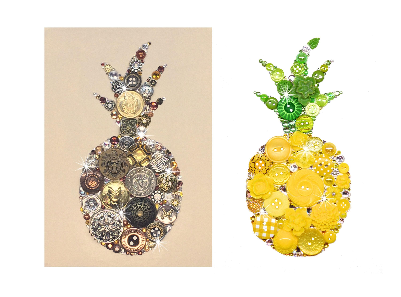Ananas 5 x 7 Knopf Kunst Button Kunstwerk Obst-Kunst