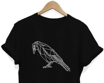 38f61c0ee Geometric Crow T-shirt, Raven Shirt, Polygonal T shirt, Minimalist Shirt,  Origami Tee, Alternative Clothing