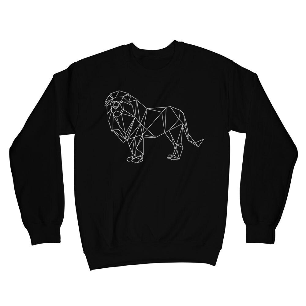 4a0ed21f2c76 Lion graphic crewneck sweatshirt Geometric Animal crew neck