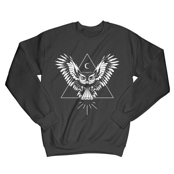 Owl Graphic sweatshirt, crew neck jumper sweater, Forest animals crewneck Jumper, Hipster Gifts