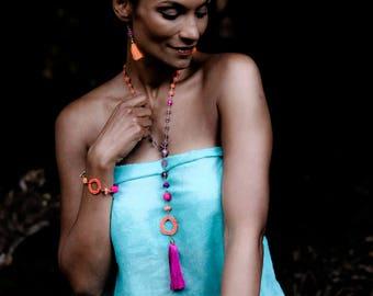 Stylishly fun pink, purple and orange tassel pendant necklace