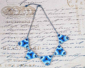 Tribal statement necklace in blues, silver and gun metal