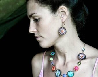 Multi-colored beadwork necklace