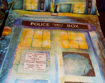 POLICE BOX Vibrant Watercolor Art Plush TARDIS Blanket by Alyssa Rolen