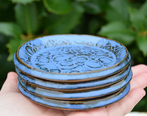 Ready to ship...Beautiful handmade appetizer condiment hors d'oeuvres plates (#P2)