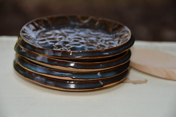 Ready to ship...Beautiful handmade appetizer condiment hors d'oeuvres plates (#P5)
