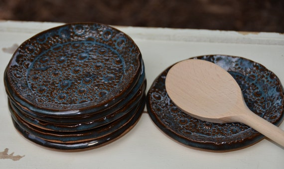 Ready to ship...Beautiful handmade appetizer condiment hors d'oeuvres plates (#P7)