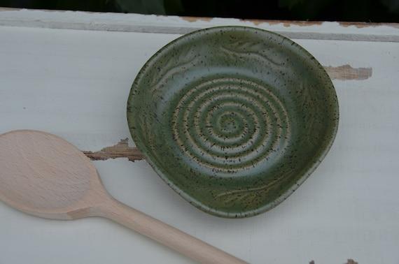 Ready to ship...Beautiful handmade wheel thrown stoneware spoon rest (#S7)
