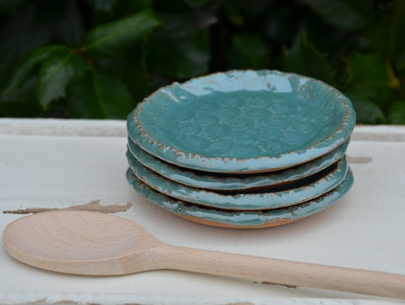 Ready to ship...Beautiful handmade appetizer condiment hors d'oeuvres plates (#P4)