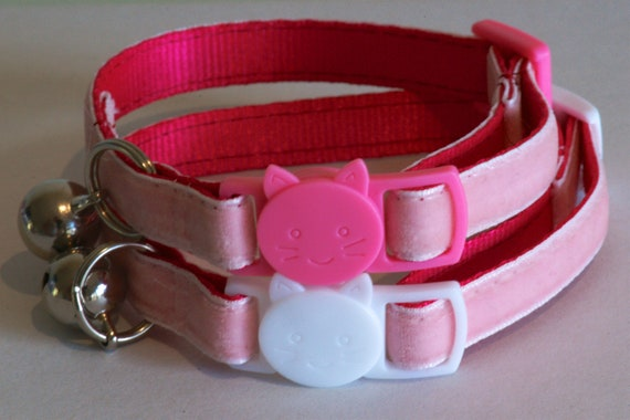Plush Plum Velvet cat face collar Pink 3 sizes FREE POSTAGE!