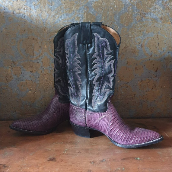 Tony Lama cowboy boots, Purple leather cowboy boot