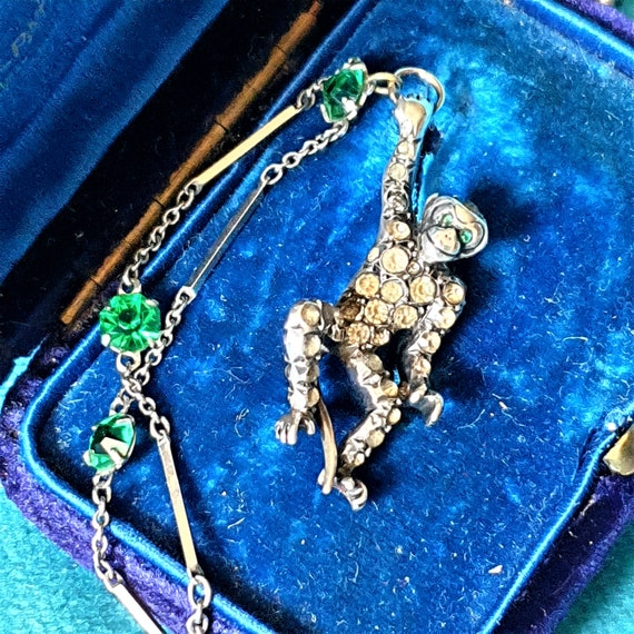 Antique monkey necklace. Silver and paste monkey n