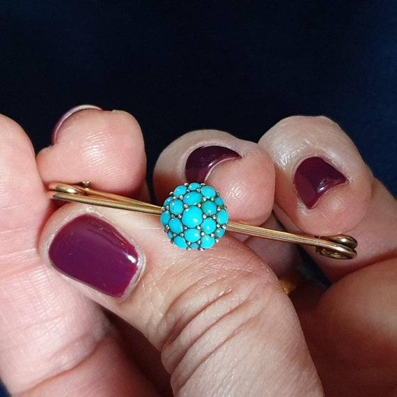 Antique Victorian 9K Gold Turquoise Brooch. Pave B