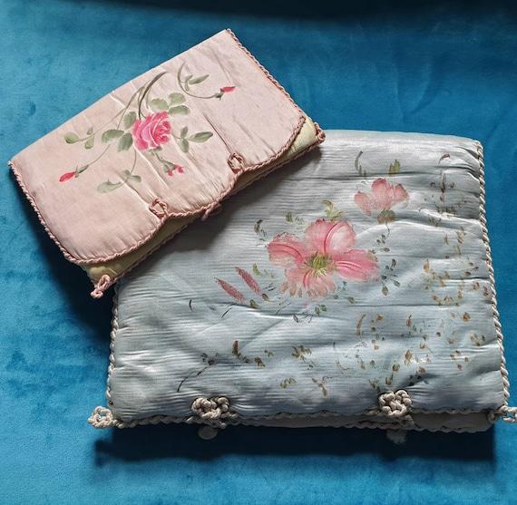 Vintage antique pajama case and Hankie case. Hand