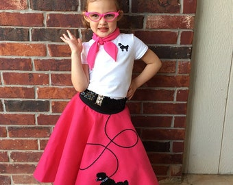 3 pc 50's POODLE SKIRT OUTFIT for Child 4 5 6 7 8 - Choose size/color
