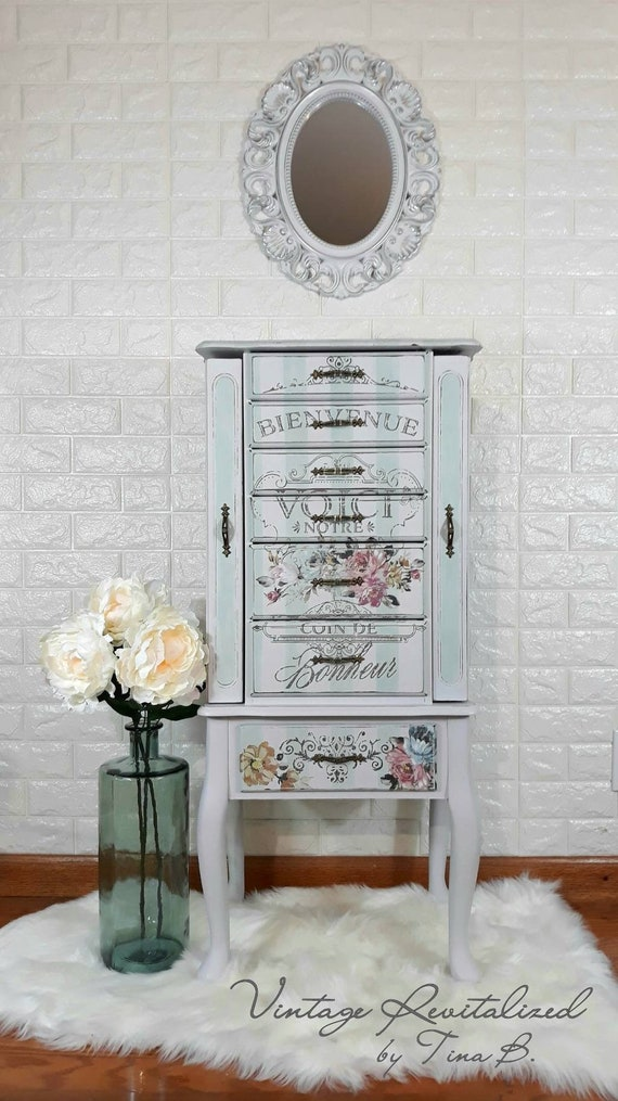 SOLD*** Refinished Jewelry Armoire / Chest / Cabinet