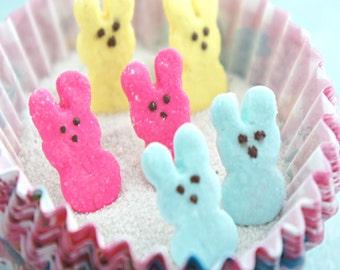 marshmallow bunny earrings- easter food jewelry ,miniature food jewelry