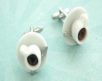 coffee cup cuff links- miniature food,coffee tie tacks