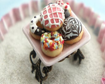 donut plate ring- miniature food jewelry, donuts ring, donut jewelry