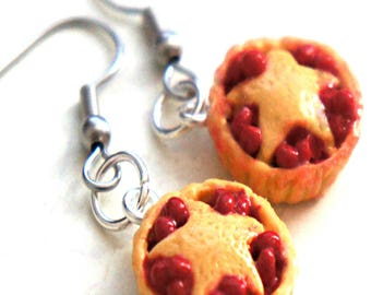 Cherry Pie Dangle Earrings- miniature food jewelry, food earrings, dessert earrings