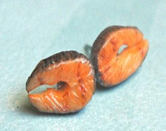 salmon earrings- miniature food jewelry, fish earrings, food earrings