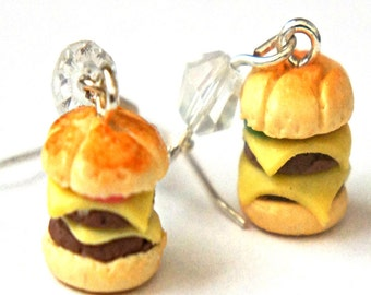 Double Cheeseburger Earrings-  miniature food jewelry