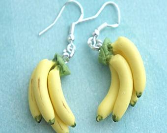 banana bunch earrings- food jewelry, fruit earrings, tropical fruit jewelry