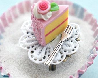 strawberry cake ring- birthday cake ring, miniature food jewelry , cake jewelry