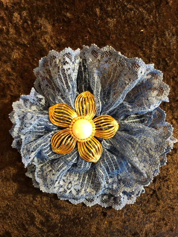 Blue and green vintage lace flower hair clip with vintage style brooch Mermaid theme