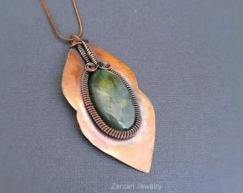 Copper Wire Wrapped Labradorite Pendant Necklace