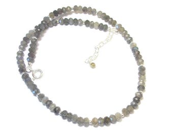 Labradorite, gemstone necklace and Sterling Silver 925