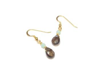 Gemstone - smoky Quartz and Amazonite earrings