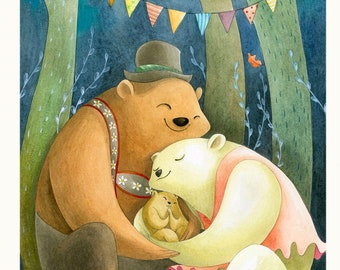 GOODNIGHT, LITTLE BEAR - art print - illustrated poster - print - bear family, birth, night in the wood
