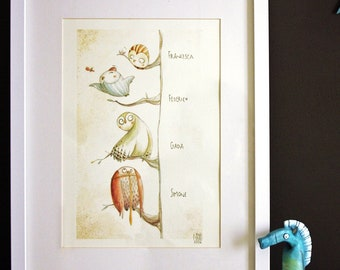 THE FAMILY TREE - art print - customised poster with names - owls family print