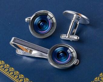 Real Glass Camera Larger Lens Cufflinks Ideal Gift For Photographer DSLR SLR For Men Wedding Groomsmen Gift In Gift Box Fathers Day Gift