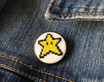 Super Mario Bros. Star Cross Stitch Pin