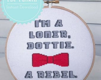 Pee-wee Herman Cross Stitch Pattern PDF - I'm a Loner Dottie, a Rebel
