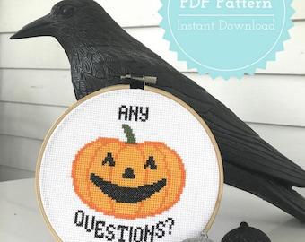 David S Pumpkins SNL Halloween Cross Stitch Pattern PDF