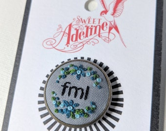 FML Floral Hand Embroidered Pin Grey and Teal