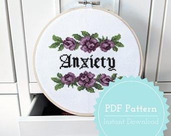 Anxiety Cross Stitch Pattern PDF